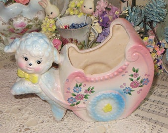 Vintage  Baby Planter Centerpiece-Nursery Decoration-Little Lamb-Easter-Made in Japan