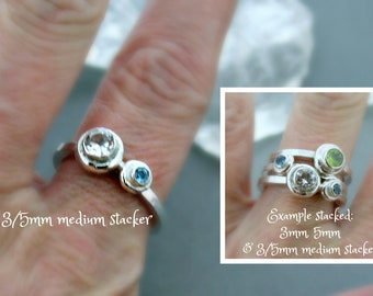 5mm and 3mm medium stacker - Birthstone Ring - Stacking Ring