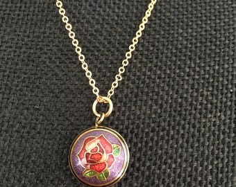 Purple cloisonne pendant necklace, Cloisonne necklace,  cloisonne purple necklace, vintage cloisonné purple pendants, cloisonne  N225
