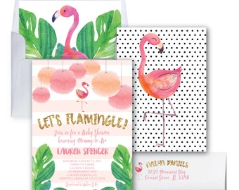Flamingo Bachelorette Invitation // Let's Flamingle Invitation // Gold Glitter // Bachelorette Party / Watercolor / COCONUT GROVE COLLECTION