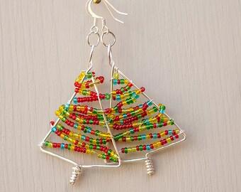 Fun Christmas tree earrings for women, Cute Xmas tree earrings, Festive Secret santa gift for friend, Cute dangle earrings, Xmas gift ideas