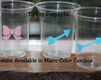 24 Bow & Arrow 10,12 or 16 oz. clear disposable cup. Baby Shower, bow or arrow, Gender reveal party, Birthday party, Party idea. B-224 C-332