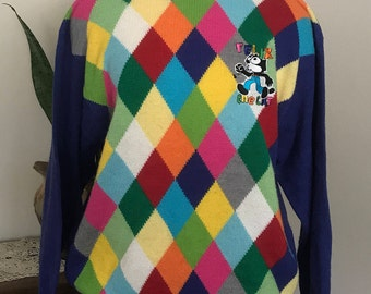 Vintage  90's Felix The Cat  Argyle Pullover Sweater/Golf Sweater/ Ladies Sweater/Men's Sweater/small/medium/large