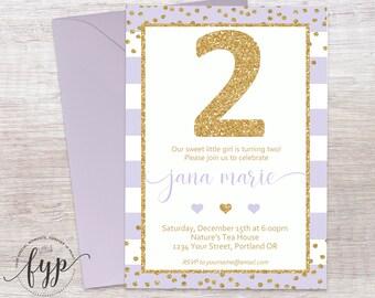 Girls 2nd Birthday Invitation - 2nd Birthday Invite - Girls Birthday Party Invitation - Lavender and Gold - Gold Glitter Confetti - Striped
