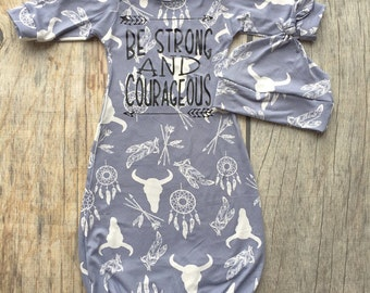 Woodland baby gown, aztec baby gown, baby boy gown, scripture baby, baby shower gift, take home gown, hospital gown