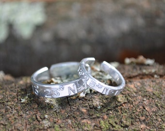 Coordinates Rings Set | Long Distance Relationship | Anniversary Gifts For Boyfriend | Best Friend Gift | Boyfriend Gift | Engagement Gift