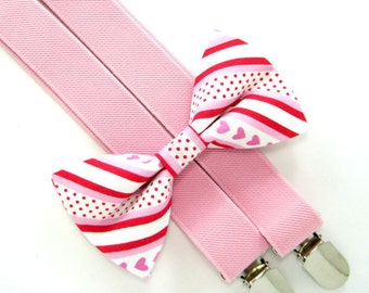 Valentine Bow Tie and Suspender set -Bow Tie and Suspender Set for Baby,Toddler and Boys,Children Suspender and bow tie set
