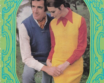 Paton's Classic Series Knitting Pattern No 104 Sleeveless Pullovers/Vests (Vintage 1970s)