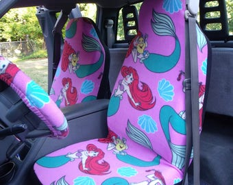 1 Set of  Little Mermaid print, Seat Covers and Steering Wheel Cover Custom Made.