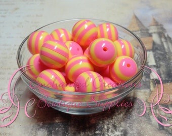 20mm Pink Lemonade Hot Pink and Yellow Striped Beads Qty 10