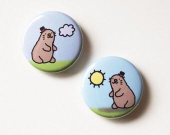 Groundhog Day Button Set