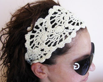 Summer Head Band - Crochet Headband-   Hair Fashion Accessories - handcrochet headband in Ivory Color