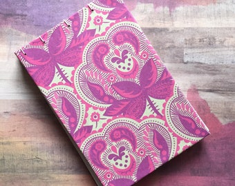 Pink Patterned Sketchbook/Journal, Blank Pages, No Lines, 4 x 6 inches, 50 Pages