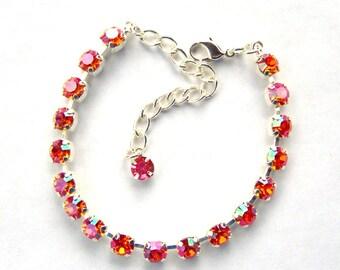 Tangerine pink rhinestone tennis bracelet / hot pink / lava / astral pink bracelet / birthday gift / Christmas gift / gift for her