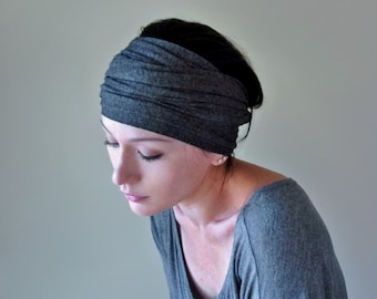 CHARCOAL GRAY Headband, Extra Wide Headband, Turban Headband, Yoga Headband, Gray Head Scarf, Jersey Turban Headband, Boho Head Scarf