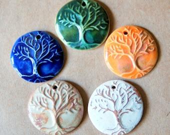 5 Handmade Ceramic Beads - Tree of Life Beads in stoneware clay - Pendant beads