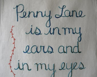 Penny Lane, Modern Tapestry, Embroidered art, Textile art, Wall art, Decorative art