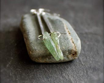 Green Kyanite Stick Dangle Earrings - Long Gemstone Earrings, Sterling Silver, Metalwork Boho Jewellery