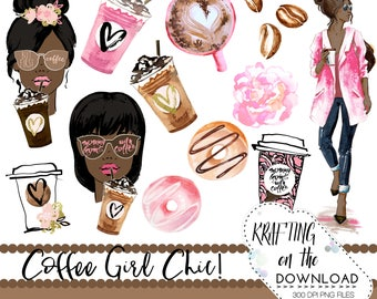 watercolor coffee clipart png file watercolor coffee clip art set watercolor planner girl watercolor coffee girl clipart african american