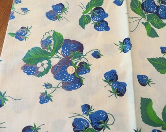 Vintage Cotton Feedsack Flour Sack Fabric Material Blue Berries Green Leaves