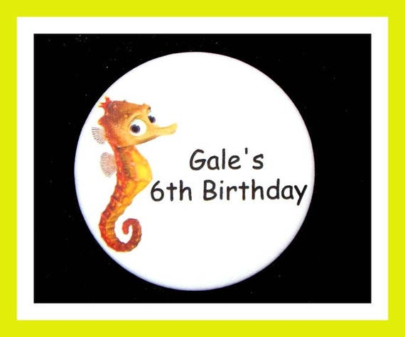 Birthday Party Favor, Personalized Button,Seahorse Pin Favor,School Favor,Kid Party Favor,Boy Birthday,Girl Birthday,Pin,Favor Tag Set of 10