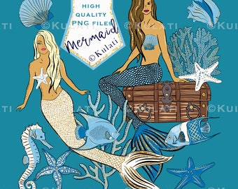 INSTANT DOWNLOAD - Mermaid ClipArt, mermaid clip art, nautical images, under the sea, seahorse graphics