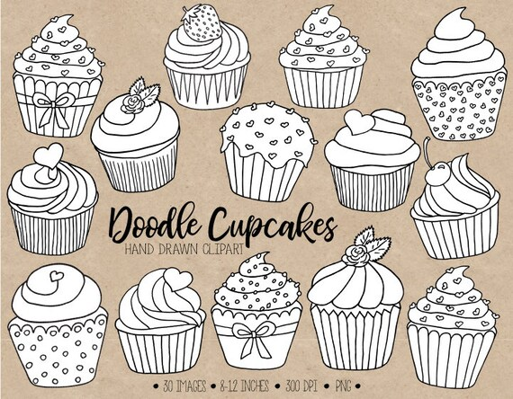Doodle Cupcake Clipart. Hand Drawn Black & White Cupcake Outlines. Cupcake  Illustrations. Coloring Pages, Valentines, Mothers Day Clip Art