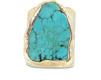 Raw Turquoise Ring, Turquoise Ring, Statement Ring, Gold, Raw Gemstone Ring, Turquoise,Gift, Hand Made Jewelry, Cocktail Ring, Gift For Her.