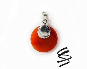 Carnelian Necklace Silver Statement Necklace Birthstone Jewelry Red Gemstone Jewelry Sterling Silver Necklace Carnelian Stone Orange Agate