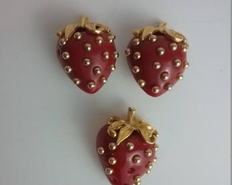 Kenneth Jay Lane Costume Strawberry Clip On Vintage Earrings and Brooch