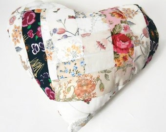 """Country Floral Chic 14"""" Handmade Stuffed Heart Cushion / For the home / Home Decor / Throw Pillow / Modern Pillow"""
