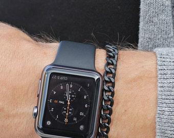Men's Bracelet - matte black chain bracelet for guys - one size fits all - adjustable - gunmetal chain - Handmade jewelry for Men