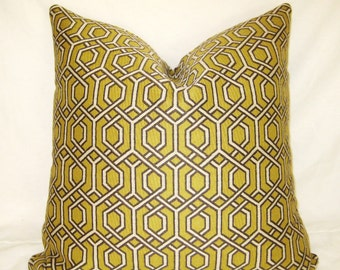 Gray, Chartreuse Lime, Lattice Trellis, 18, 20 22 24 26 inch Throw Pillow Cover