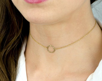 Dainty Circle Choker, Small Circle Necklace, Chain Choker in Sterling Silver, 14kt Gold Filled, Rose Gold Filled Circle Ring choker necklace