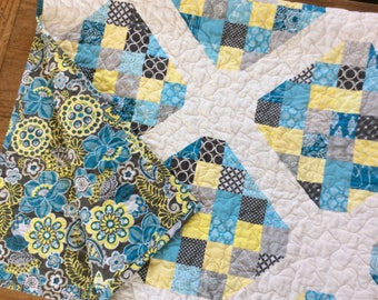 Modern Lap Quilt, Blue, Yellow, and Gray Quilt, Handmade Quilt, Blanket, Patchwork Throw, Homemade Quilts for Sale