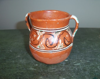 Vintage Small Mexican Handmade Pot Double Handled