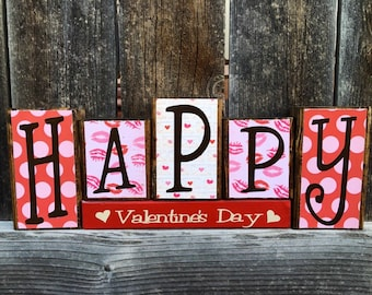Happy Valentines day wood blocks, Valentine's Day blocks, hearts