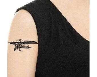 Temporary Tattoo - Vintage Aircraft / Tattoo Flash