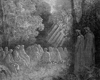 Spirits Sing Salve Regina In The Dell Canto 7 Purgatory Vintage Engraving Gustave Dore' Black & White