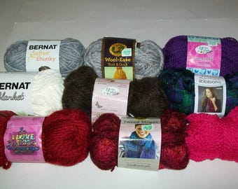 Yarn Destash Lot - Partial Skeins - Yarn Scraps - Left From Projects - Lion Brand - Yarn Bee - Red Heart - Bernat - Bulk and Super Bulky