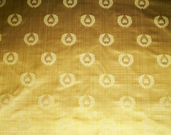 DESIGNER NEOCLASSICAL BEE Strie Silk Damask Fabric 10 Yards Maize Yellow- Gold Opal