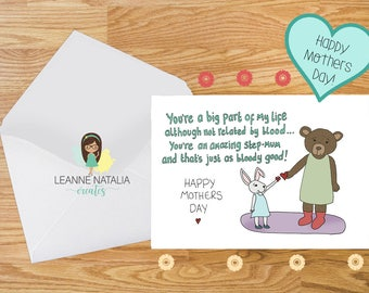 Step mum mothers day card, card for step mum, card for her, funny, cute, stepmum