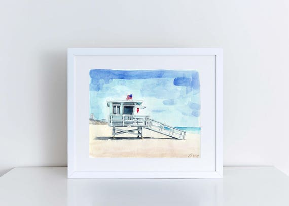 California Lifeguard Tower Print 2 Beach House Art Painting Coastal Wall Decor Nautical Canvas