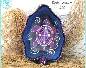 Tribal Turtle Dreamer Bowl, Handpainted Wood, OOAK Decor in *purple, blue, black, white* 1672