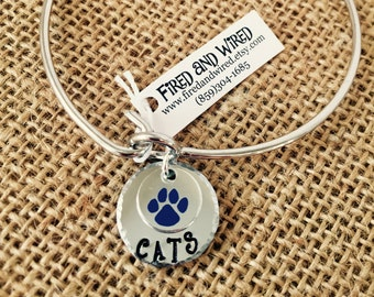 University of Kentucky Hand-stamped Bracelet, Uk Wildcats Bracelet, Stamped Kentucky Bracelet, Kentucky Bracelet, Cat Paw Kentucky Bracelet