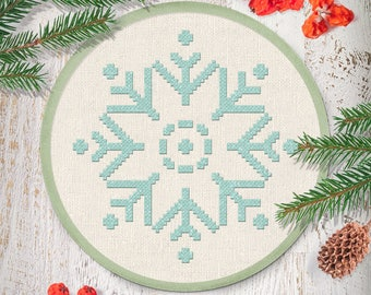 Sparkling Snowflake Cross Stitch, Winter Snowflake Christmas Holiday Modern Simple Cute Counted Cross Stitch PDF Pattern. Instant Download