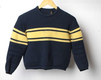 50s 60s Kid's striped CABLE KNIT kids childrens sweater size Medium for ages 6-9 years old