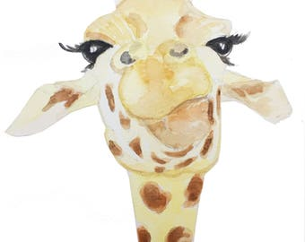 Print of the original watercolor painting 'Zephie the Giraffe'