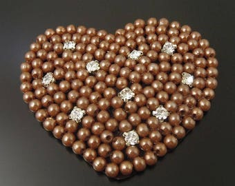 Vintage beaded taupe and rhinestones 70 heart applique * 4 * 55 mm