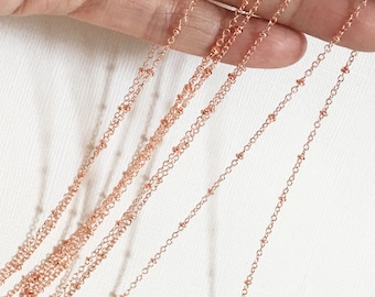 Electroplated rose gold chain with beads, rose gold beaded chain, small cable chain